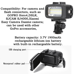Image 5 - Orsda LED ضوء فلاش تحت الماء الغوص ضوء مقاوم للماء الفيديو ضوء ملء في مصباح ل GoPro بطل 7 SJCAM SJ4000 H9 H9R شاومي يي