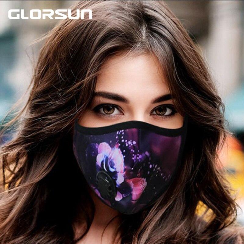GLORSUN 2 Pcs Black Mouth Mask Anti PM2.5 Haze Dust Mask Activated Carbon Filter Windproof Face Mouth Masks