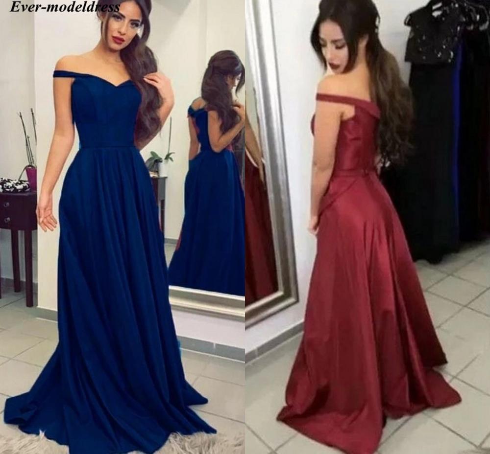 Épaules nues Simple robes de soirée 2019 a-ligne longueur de plancher à lacets dos Satin bal Robe de soirée robes formelles Robe de soirée