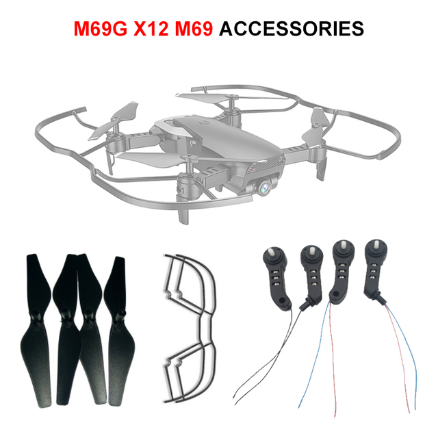 LAUMOX M69G X12 RC Drone Spare Parts Arm CW CCW Motor Combo Kit Propeller Frame protection Ring for M69 M69S Wifi FPV Quadcopte