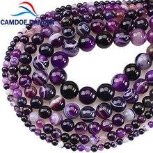 DANLEN の部品 ナチュラル宝石石紫色のストライプ瑪瑙オニキスラウンドルースビーズ CAMDOE