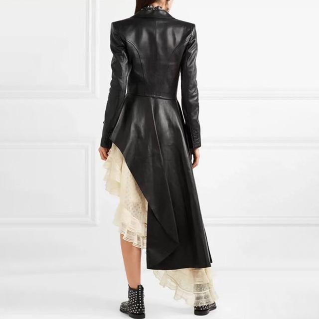 2019 Autumn Women'S Fashion Show Fashion Personality Belt Waist Thin Lapel Long Sleeve Belt Irregular Hem Black Pu Leather Coat