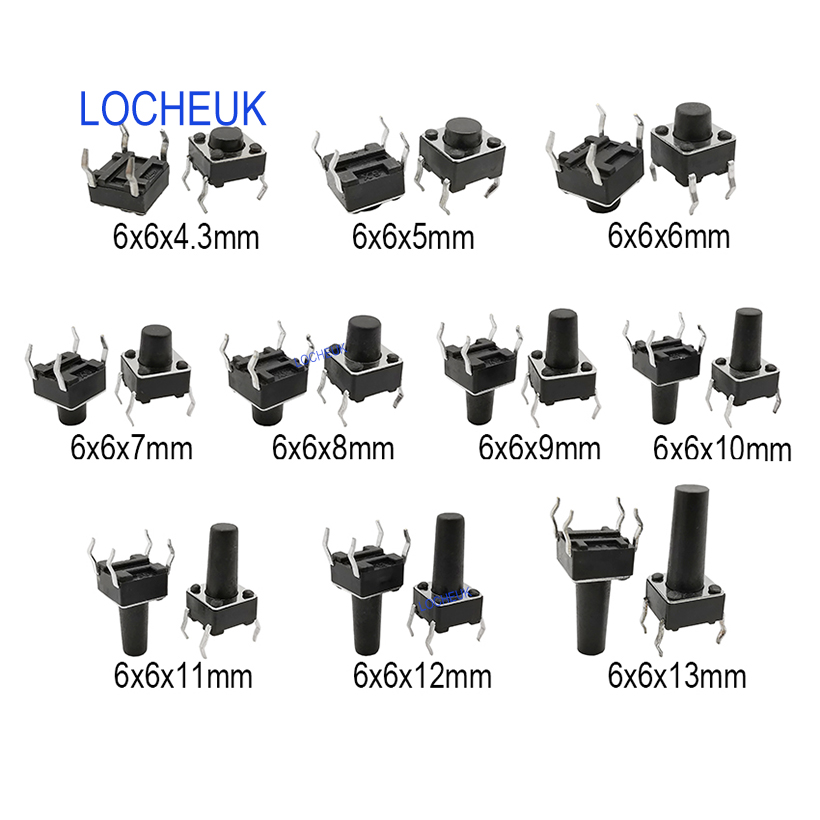 50Pcs Tactile Push Button Switch Tact Switch 6X6X4.3MM 4-Pin Dip US Stock r