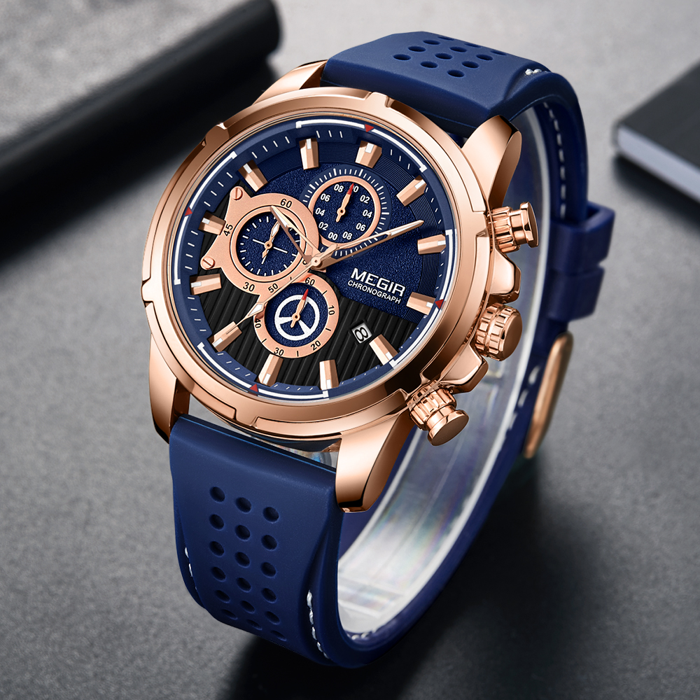 Fashion <font><b>Megir</b></font> Top Brand Luxury Silicone Military Sport Chronograph Stopwatch Relogio Masculino Reloj Hombre Clock Men Watches image