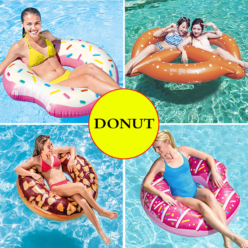 110cm Inflatable Donut Swimming Ring Giant Pool Float Toys Circle Beach Sea Party Inflatable Ride-on Mattress Adult Boia Piscina