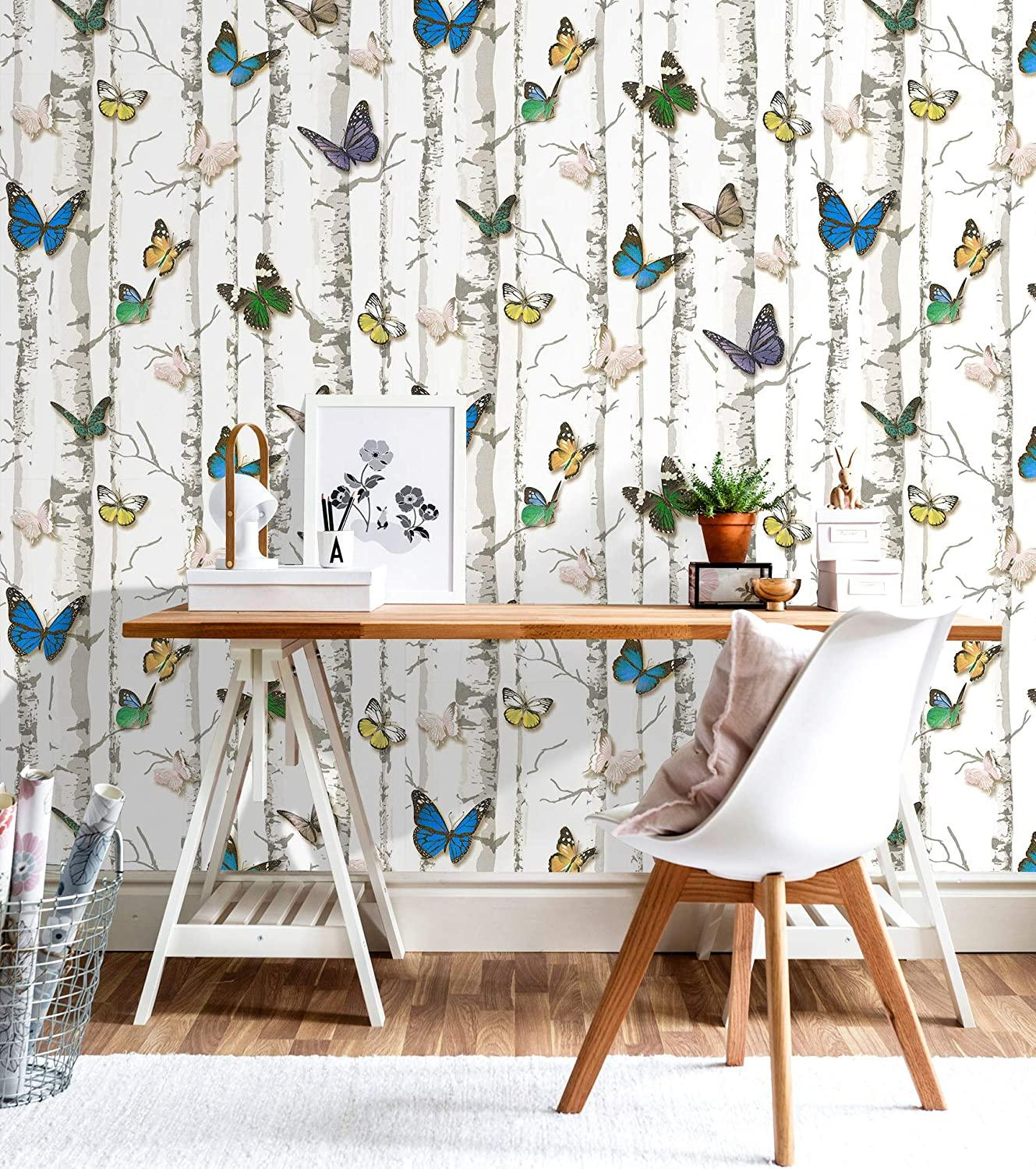 Luckyyj Birch Tree W Butterfly Peel Stick Wallpaper Vinyl Self Adhesive Contact Paper For Walls Bathroom Bedroom Home Decor Wallpapers Aliexpress