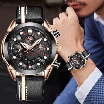 Men Watch quartz wristwatch Sport luminous chronograph leather Waterproof Top Brand OLEVS Fashion Luxury  clock watch mans gifts