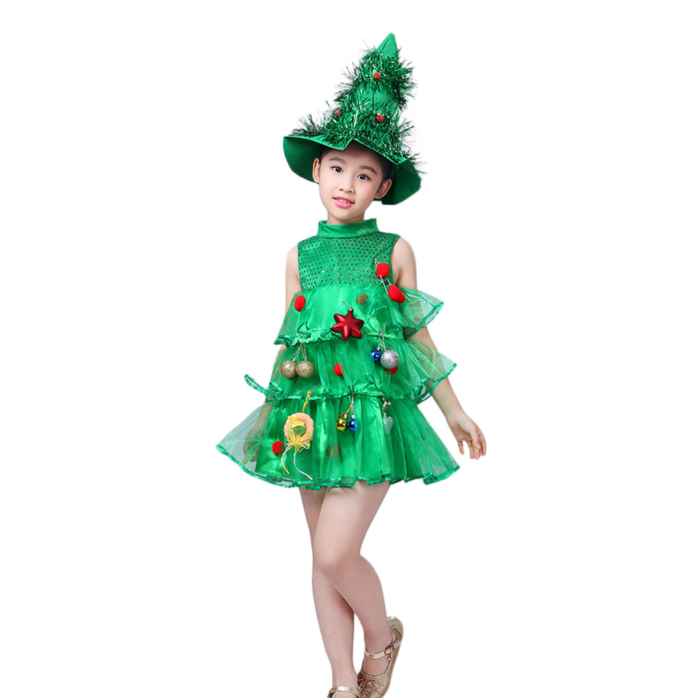 Christmas Toddler Kids Baby Suit Tree Costume Dress Tops Party Vest Hat Outfits