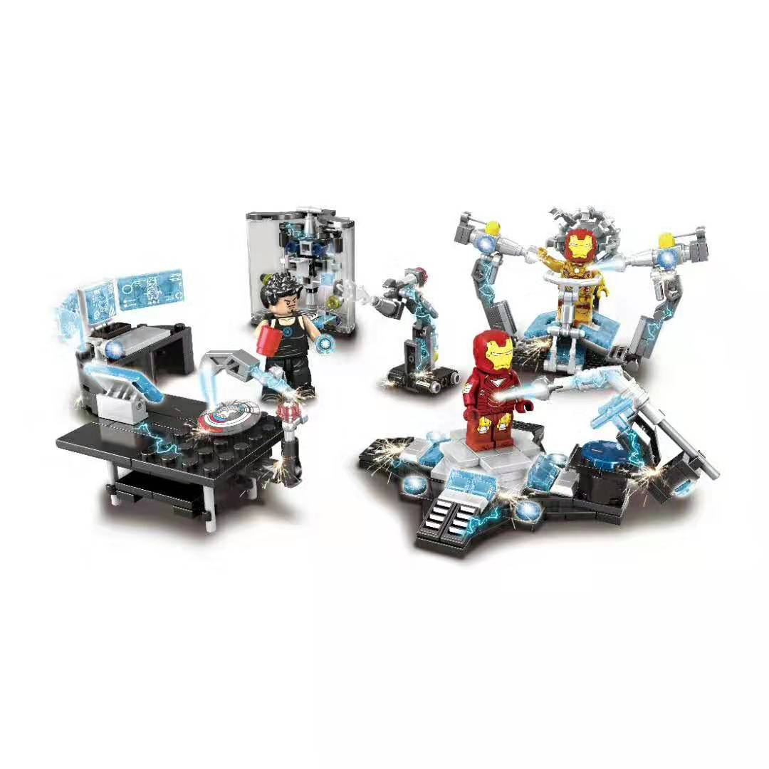 Single Iron Man Garage Hulkbuster Figure Set Ironman Operating Console Super Hero Avengers Building Blocks Bricks Toys Legoing