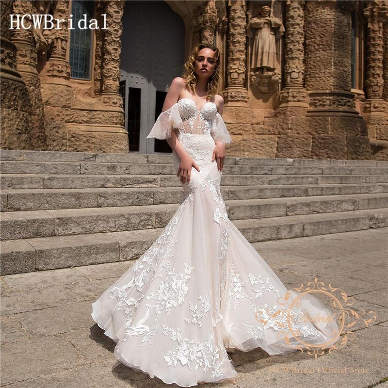 Dubai Mermaid 2019 Wedding Dresses Gorgeous Lace Sweetheart Short Sleeves Ivory Bridal Dress Customize Vestido De Casamento