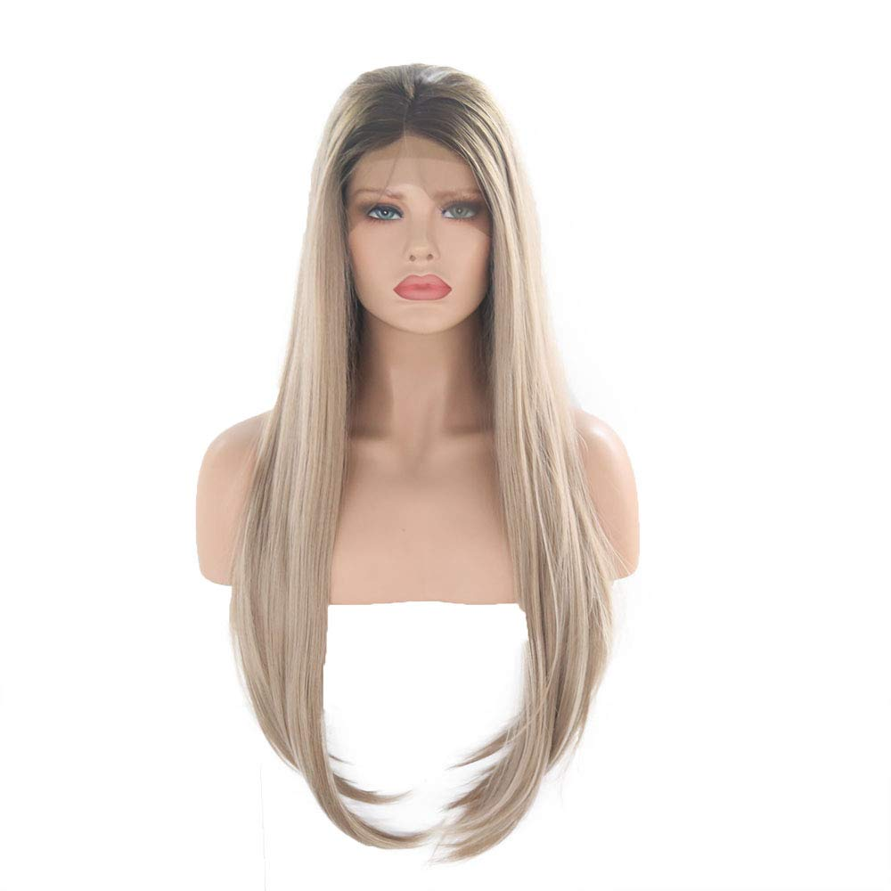 Charisma Brown Roots Ombre Blonde Wig Straight Hair Synthetic Lace Front Wig For Black Women Natural Hairline Wigs 13X3
