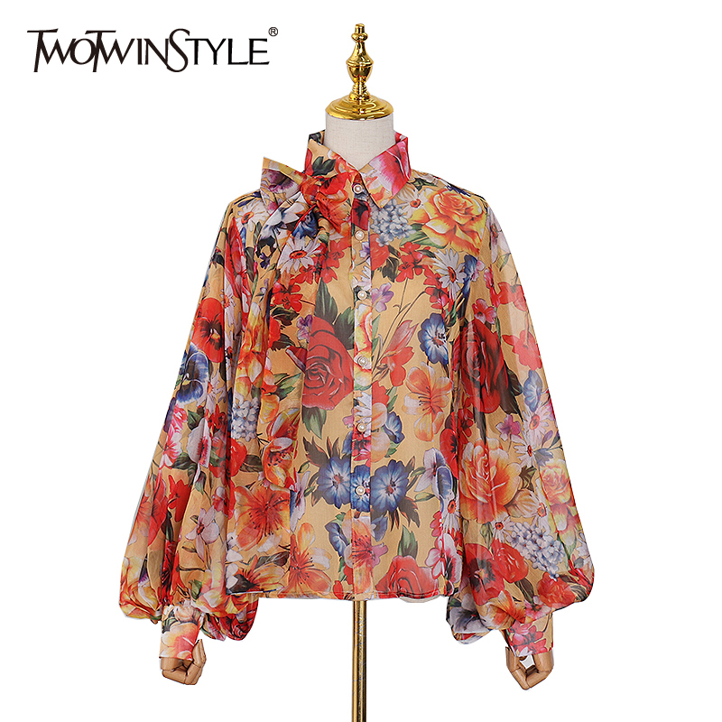 TWOTWINSTYLE Patchwork Bowknot Print Floral Women's Shirts Lapel Collar Lantern Long Sleeve Chiffon Shirt Female 2020 Spring New