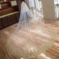 Lace Gold Embroidery Wedding Veil Soft Tulle 3.5m Luxury Bridal Voile Mariage With Face Veils Accessori Sposa