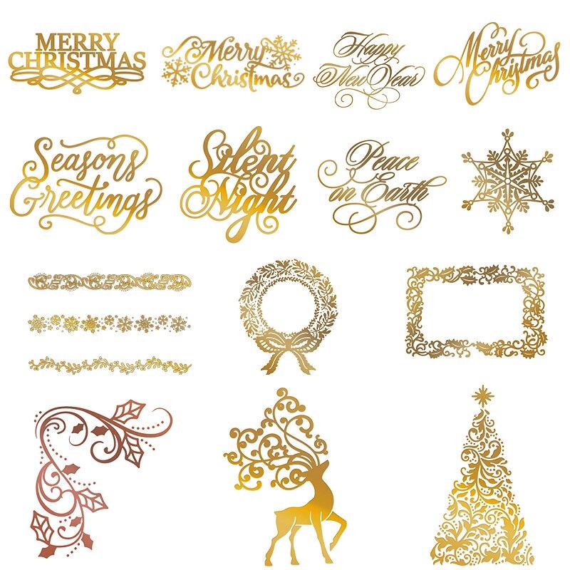 Рождественская фольга/Штампы трафареты для Скрапбукинг Декор Сделай Сам тиснение бумажные изделия