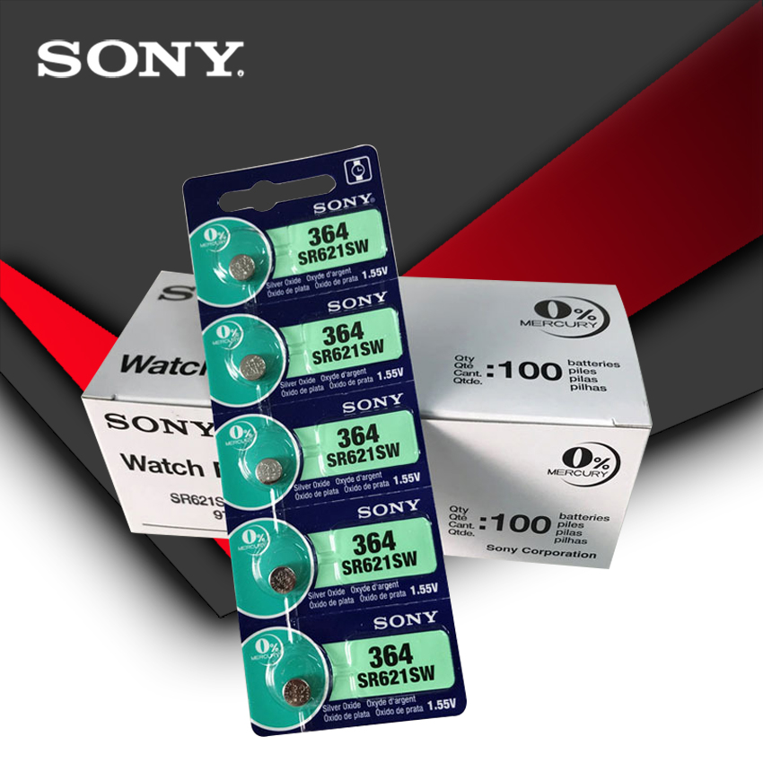 200pcs Sony 100% Original 364 SR621SW V364 SR60 SR621 AG1 Watch Battery Button Coin Cell MADE IN JAPAN