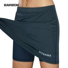 Underwear Bike-Shorts Cycling-Skort Gel-Padded Liner Sports-Skirt WOSAWE Quick-Dry 2-In-1
