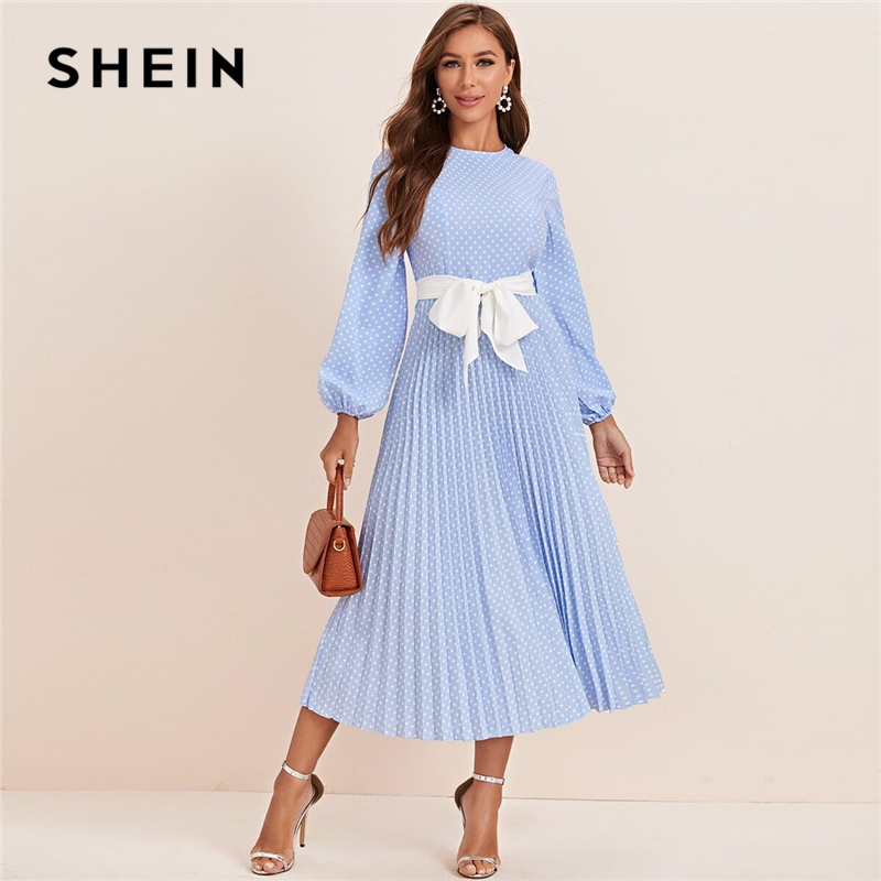 SHEIN Abaya Blue Lantern Sleeve Polka Dot Pleated Dress With Belt Women Spring A Line Elegant High Waist Long Dresses|Dresses| - AliExpress