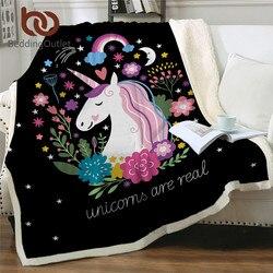 BeddingOutlet jednorożec rzut koc kwiatowy Cartoon Sherpa koc dla dzieci dziewczyna kanapa miękki pluszowy narzuty cienka kołdra Drop Ship w Koce od Dom i ogród na