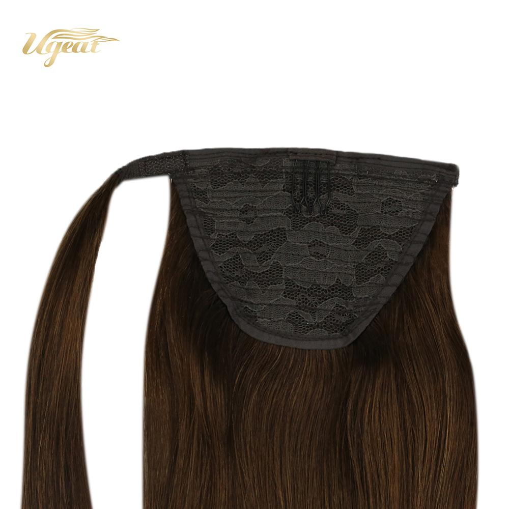 Ugeat Wrap Around Brazilian Ponytail Hair Extensions Brown Color Hair #4 Clip On Ponytails 14-24