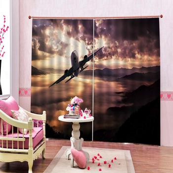 Aircraft Takes Off Shower Curtains Colorful Sky Blackout Bathroom shower Curtains For Home Decor