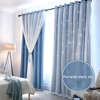 Double layer Window Curtain Blackout Mesh Lace Sheer Floor Curtains Decor