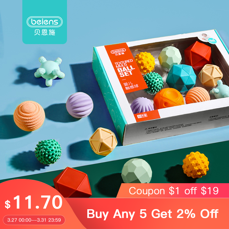 Beiens 6-10Pcs Rubber Textured Touch Ball Hand Sensory Children Ball Toys Baby Training And Massage Soft Ball Development Toy