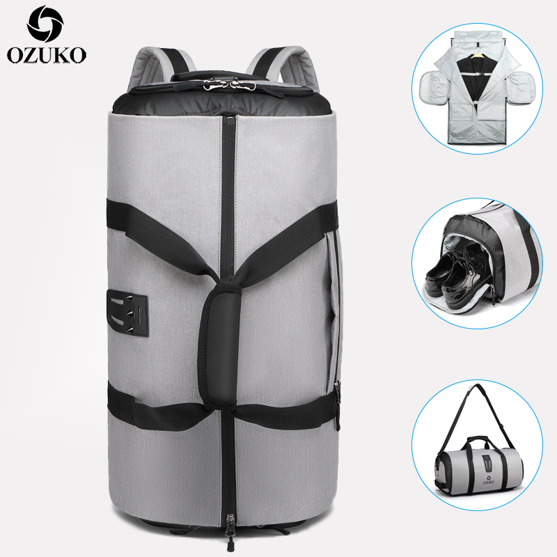 OZUKO Travel Backpack For Men Suit Storage Large Capacity Travel Hand Bag Multifunction Waterproof Trip Mochila With Shoe Pocket