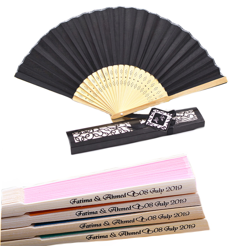 In 13 Colors 50pcs/lot Custom Folding Fan Personalized Bride & Groom's Name & Date Silk Wedding Hand Fan With Gift Box