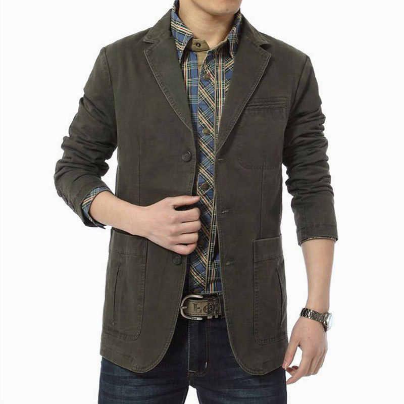 Mens מזדמן טרייל כותנה ארוך שרוול ינס מעילי זכר Slim Fit מעילים בתוספת גודל 4XL בלייזר הלבשה עליונה אופנה צבא ירוק חאקי