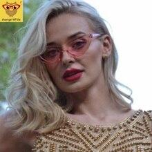 Cute sexy retro cat eye sunglasses women small Black Transparent pink 2019 trian