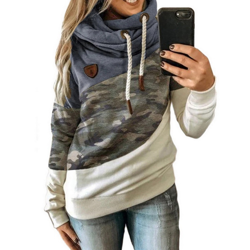 2020 Women  Autumn Winter  Gradient Patchwork Hooded Sweatshirt Women Drawstring Long Sleeve Harajuku  Pocket Hoodie Tops 14