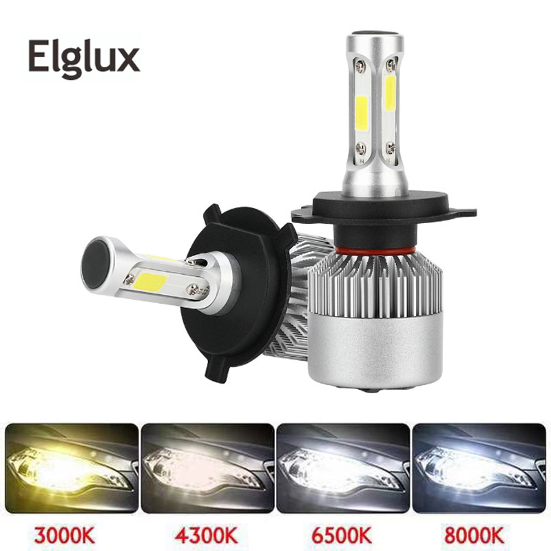 2PCs H7 H4 LED Bulb Car Headlight COB H11 H1 H13 H3 H27 9005/HB3 9006/HB4 9007 Hi-Lo Beam 80W 12000LM Auto Headlamp image