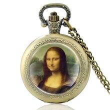 Старинные Да Винчи Работы Мона Лиза Стеклянный Купол Кварцевые Карманные Часы Классический Мужчины Женщины Бронзовый Ожерелье Подарки