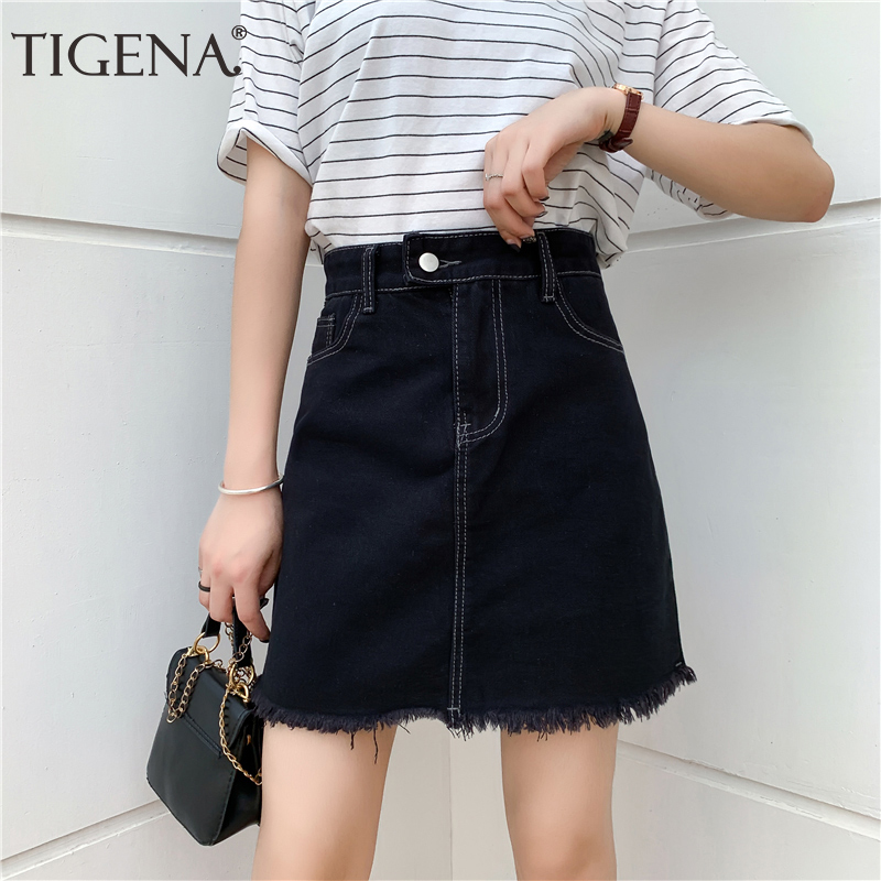 TIGENA Plus Size Mini Denim Skirts Women Summer Korean Fashion Black Short High Waist Jeans Skirt Female With Pocket School