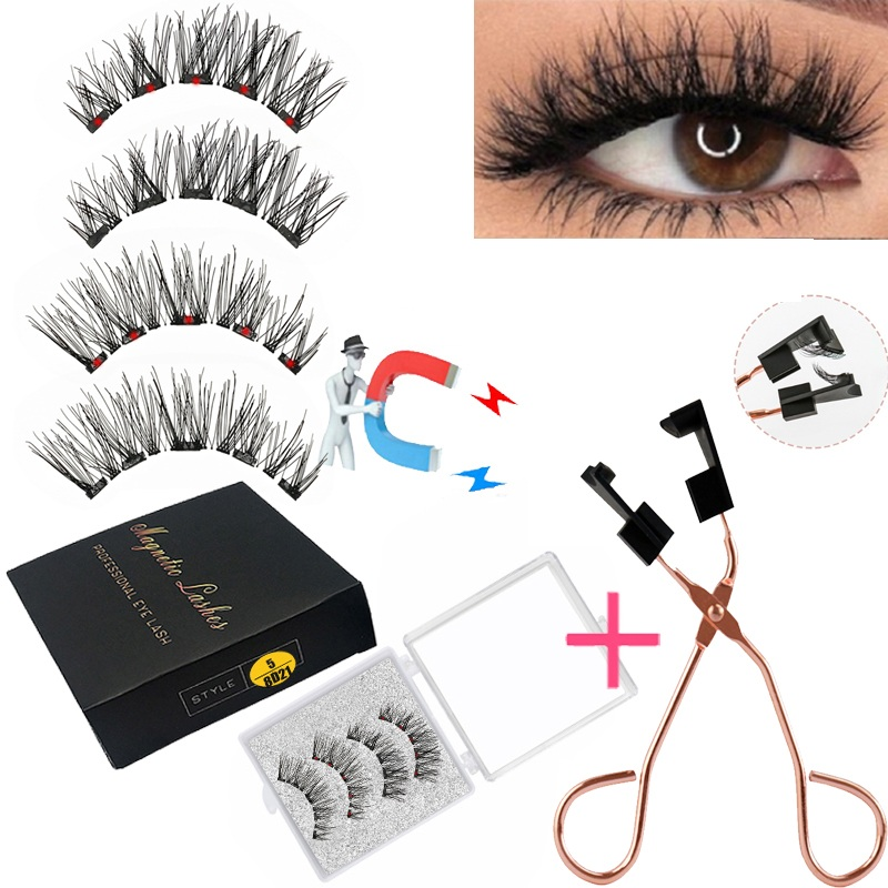 LEKOFO 8D 2 Pairs Magnetic Eyelashes 5 Magne Set Mink Eyelashes Thick faux cils magnetique Natural False Lashes+Tweezers 1
