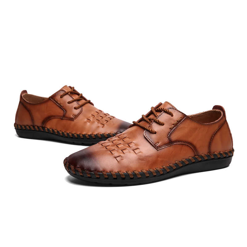 UEXIA กลางแจ้งรองเท้าหนังผู้ชาย Handmade VINTAGE รองเท้าลูกไม้ LACE-up ร้อนขายรองเท้าแตะ Chaussure Homme ขนาดใหญ่ 38-48