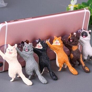 COOL Mr Cat Mobile Phone Holder Stand Sucker Tablets Smartphone - discount item  22% OFF Novelty & Gag Toys
