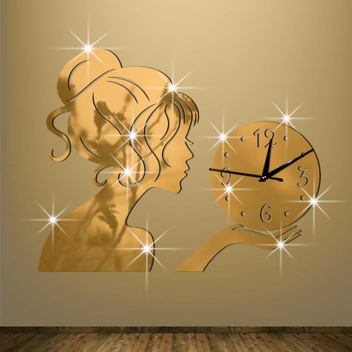 Diy 3D Meisje Spiegel Wandklokken Acryl Quartz Wandklokken Mode Woonkamer Spiegel Muurstickers Office Home Decoratie Hot Nieuwe
