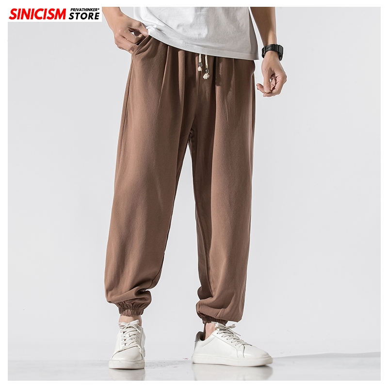 Sinicism Store Men Solid Chinese Style Spring Sweatpants Mens 2020 Cotton Linen Loose Trousers Male Oversize Toursers Pants 5XL