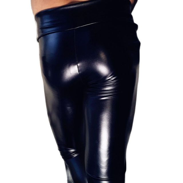 Mens Fad Punk Elastic Tight Trousers PU Faux Leather Glossy Stage Pencil Pants Sexy Clubwear Gay Club Dance Wear Velvet Legging 2