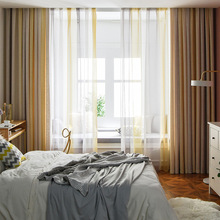 Nordic Curtains for Living Room Bedroom Beige Gradient Cotton and Linen Blended Blackout Curtains Finished Product Customization