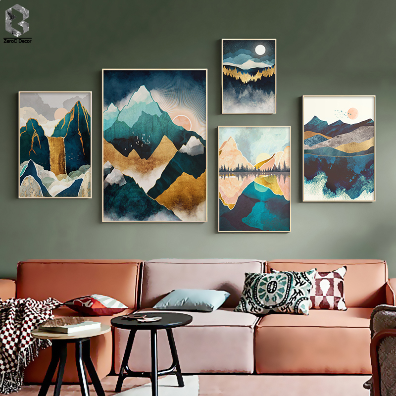 Evening Mist Nordic Sunrise Mountain Canvas Painting Landscape Posters And Print Unique Decor Wall Art Pictures For Living Room