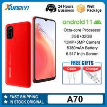 Blackview a70 android 11 3gb ram + 32gb rom smartphone 6.517 Polegada exibição octa núcleo 5380mah 13mp câmera traseira 4g telefone móvel