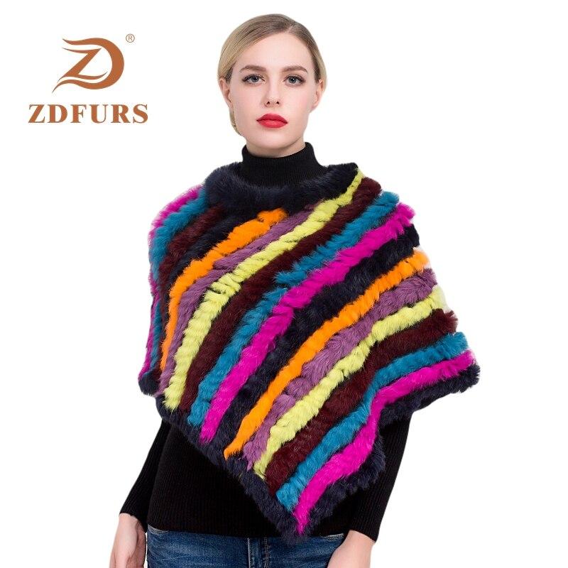 ZDFURS * Winter Hot Sale Knitted Natural Rabbit Fur Poncho Fashion Rabbit Fur Shawl Genuine Rabbit Fur Warps Women  Fur Poncho