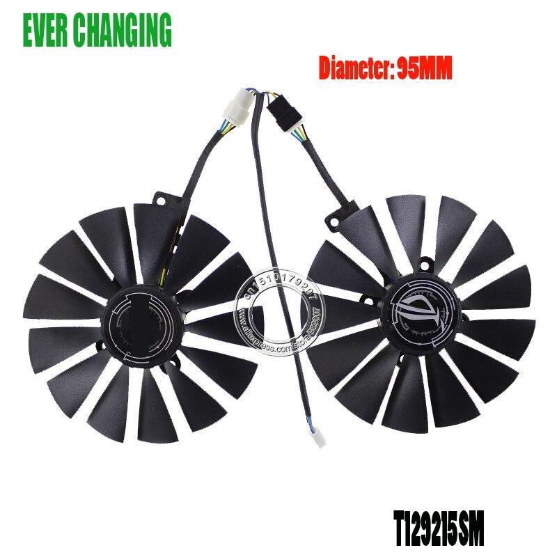 T129215SM DC12V 0.25AMP графика/Видеокарта кулер вентилятор для ASUS STRIX RX570 4G GAMINGGraphics Card охлаждающий вентилятор