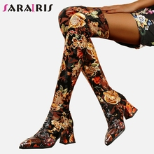 все цены на SARAIRIS Fashion Print Genuine Leather Suede Thigh High Boots Women 2019 Sexy Over Knee Stretch Boots High Heels Shoes Woman