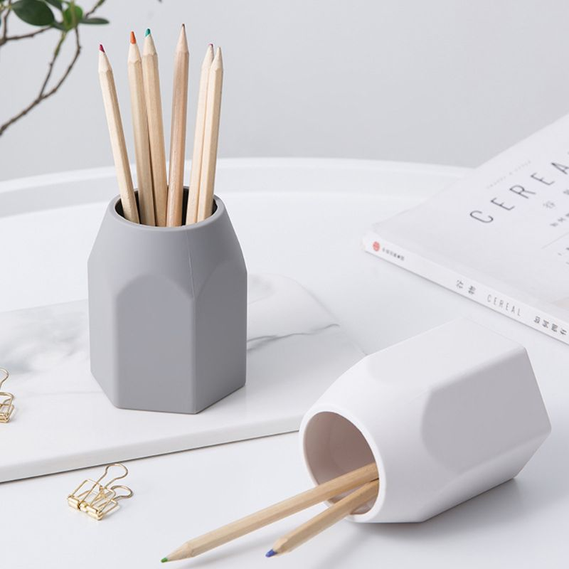 Modern Desktop Pen Holder Silicone Multi-function Pencil Container Non-slip Makeup Brush Organizer Stationery Storage Ornaments