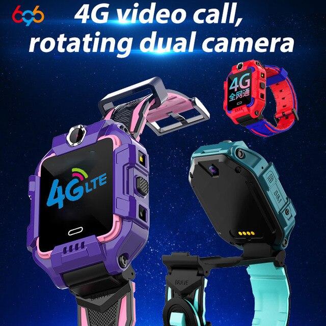 ساعة يد ذكية للأطفال موديل 696 بشريحة 4G LTE مزودة بنظام تحديد المواقع وكاميرات مزدوجة للاتصال بالفيديو IP68 مقاومة للمياه لصبي الأطفال والبنات ساعة ذكية طراز Y99 Z6
