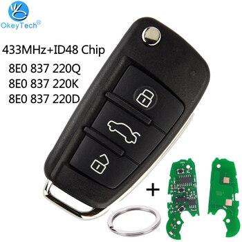 OkeyTech 3 Button Remote Car Flip Key 433MHz Fob for AUDI A2 A3 S4 Cabrio Quattro Avant 2005-2008 48 Chip 8E0 837 220Q K D