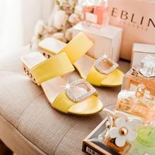 Women Sandals Summer Slippers Fashion Slides Ladies Rhinestone Bohemia Shoes Square Low Heel Girl Home Wearing